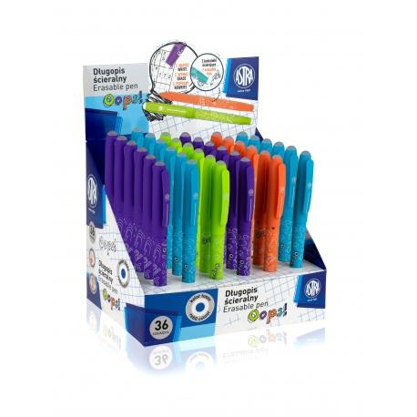 ASTRA OOPS! Gumovateľné pero 0,6mm, modré, dve gumy, mix farieb, stojan, 201120001