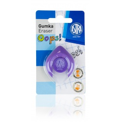 ASTRA OOPS! Ergonomická guma 2v1, na ceruzky aj perá, fialová, blister, 403120004