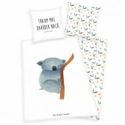 HERDING Obojstranné bavlnené obliečky Mr. & Mrs. Panda, 140/200+70/90