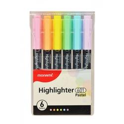 MONAMI® Sada pastelových zvýrazňovačov 601, 1-4mm, klinový hrot, 6ks, 20632395060