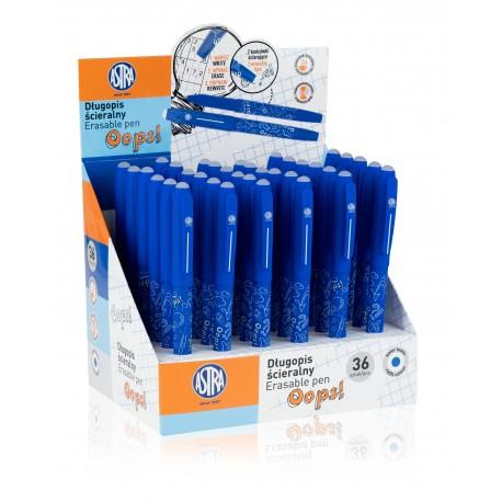 ASTRA OOPS! Gumovateľné pero 0,6mm, modré, dve gumy, stojan, 201319001