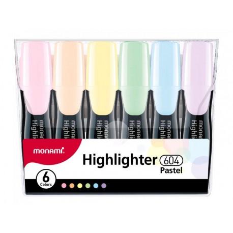 MONAMI® Sada pastelových zvýrazňovačov 604, 1-6mm, klinový hrot, 6ks, 20632495060