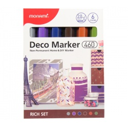 MONAMI® Deco Marker 460, 2mm, sada RICH SET, 6ks, 20800015040