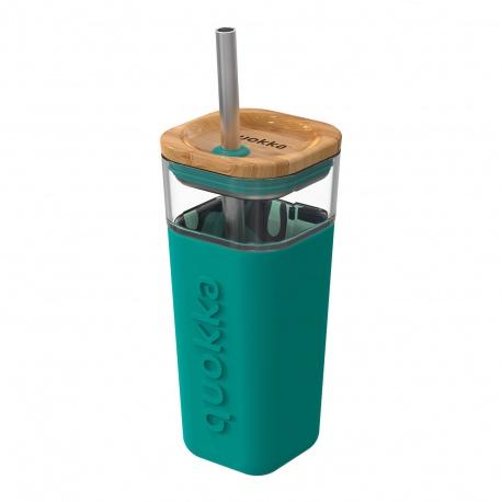 QUOKKA LIQUID-CUBE Sklenený pohár so silikónovým povrchom TROPICAL FLOW, 540ml, 40052