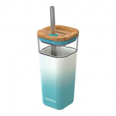 QUOKKA LIQUID-CUBE Sklenený pohár so silikónovým povrchom TEAL GRADIENT, 540ml, 40054