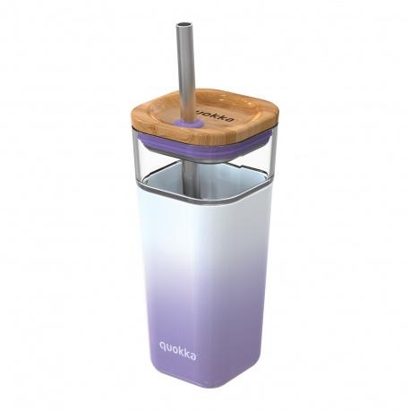 QUOKKA LIQUID-CUBE Sklenený pohár so silikónovým povrchom LILAC GRADIENT, 540ml, 40055