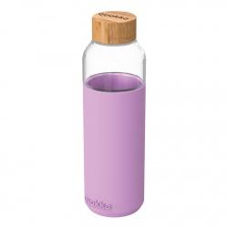 QUOKKA FLOW Sklenená fľaša so silikónovým povrchom LILAC, 660ml, 40008