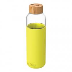QUOKKA FLOW Sklenená fľaša so silikónovým povrchom NEON GREEN, 660ml, 40009