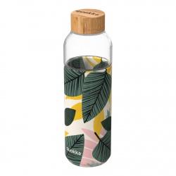 QUOKKA FLOW Sklenená fľaša so silikónovým povrchom AUTUMN LEAVES, 660ml, 40001