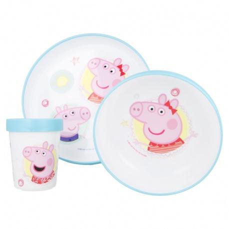 Detský plastový riad PEPPA PIG PREMIUM - tanier, miska, pohár, MICRO, 13981