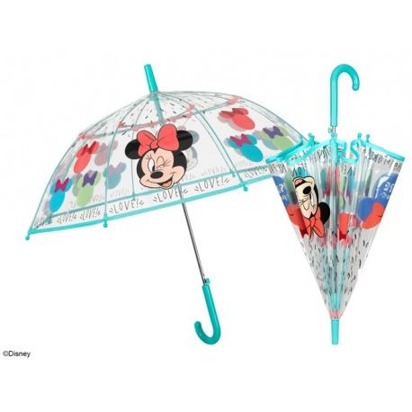 PERLETTI® Dievčenský automatický dáždnik MINNIE MOUSE Transparent, 50129