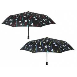 PERLETTI® Dámsky skladací automatický dáždnik BLACK FLORAL, 26116 / červené pásy