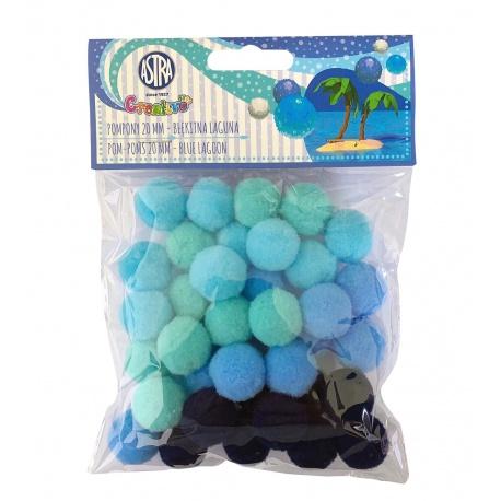 CREATIVO Plyšové POM POM guličky BLUE LAGOON, 20mm, 335121020
