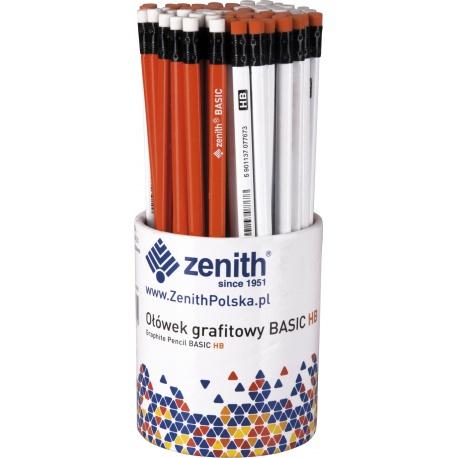 ZENITH Basic, Obyčajná ceruzka HB s gumou, mix farieb, stojan, 206315005