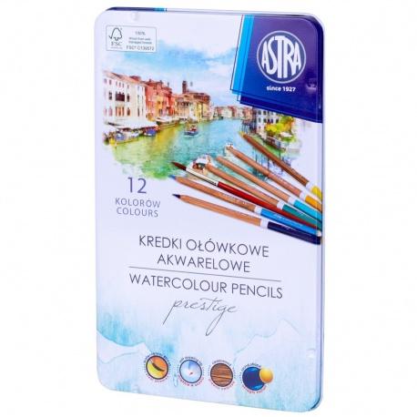 ASTRA PRESTIGE Umelecké akvarelové farbičky z cédrového dreva 12ks + štetec, 312121001