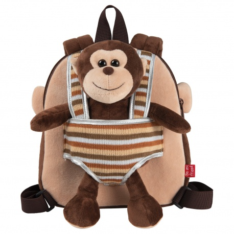 BE MY FRIEND, Detský obojstranný plyšový batoh s odnímateľnou hračkou OPICA, 13031