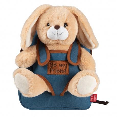 BE MY FRIEND, Detský denimový batoh s odnímateľnou hračkou ZAJAČIK, 13035
