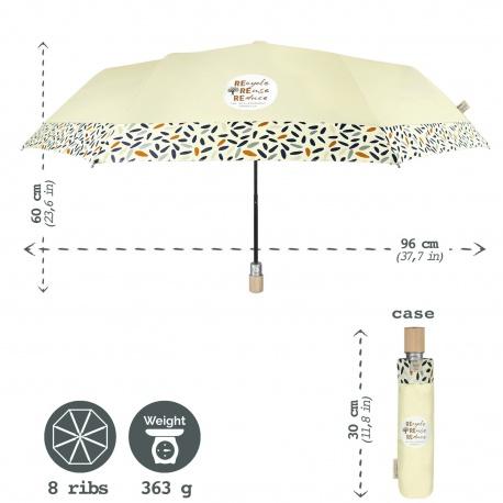 PERLETTI® GREEN Dámsky skladací automatický dáždnik / tmavo-sivá, 19105