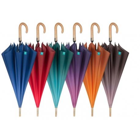 PERLETTI® Automatický dáždnik s drevenou rúčkou DEGRADO / oranžová, 26129