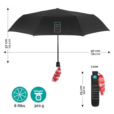 PERLETTI® Skladací dáždnik s ozdobou LOVE, 26168