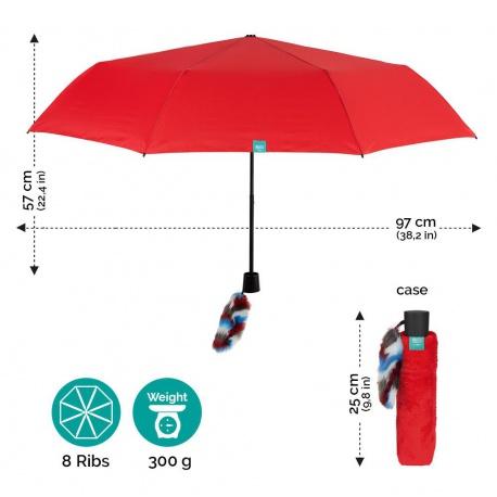 PERLETTI® Skladací dáždnik s ozdobou LOVE / modrá, 26169