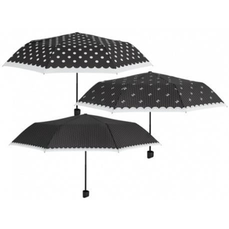 PERLETTI® Skladací dáždnik POLKA DOTS / bodky s mašličkami, 12313
