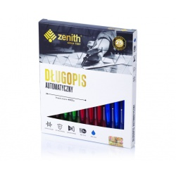 ZENITH Transparent, Guľôčkové pero 0,8mm, modré, ergonomické, mix farieb, 4051000