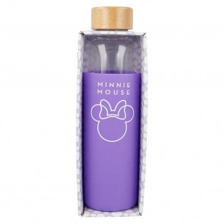 Sklenená fľaša so silikónovým povrchom MINNIE MOUSE 585ml, 00255
