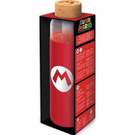 Sklenená fľaša so silikónovým povrchom SUPER MARIO 585ml, 00385