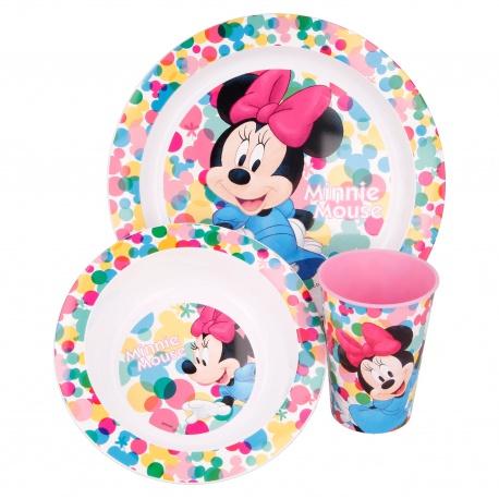 Detský plastový riad MINNIE MOUSE tanier, miska, pohár, MICRO, 51149