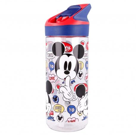 Plastová fľaša s výsuvnou slamkou MICKEY MOUSE Transparent, Tritan 620ml, 50197