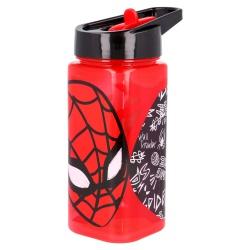 Plastová hranatá fľaša s výsuvnou slamkou SPIDERMAN, Tritan 530ml, 51314