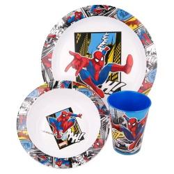 Detský plastový riad SPIDERMAN tanier, miska, pohár, MICRO, 51349