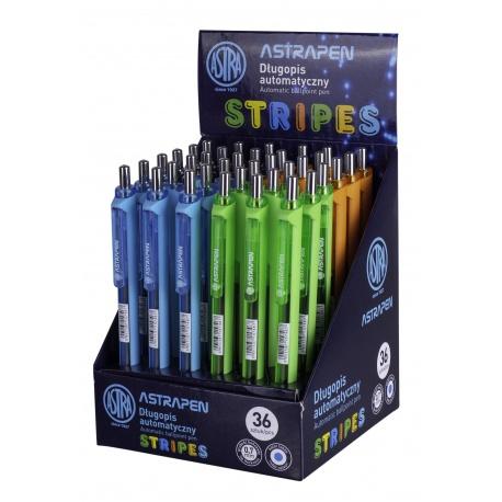 ASTRA STRIPES, Guľôčkové pero 0,7mm, modré, stojan, mix farieb, 201121003