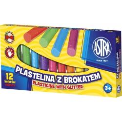 ASTRA Plastelína s trblietkami 12 farieb, 303107001