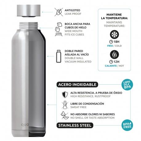 QUOKKA Nerezová fľaša / termoska SLEEK SILVER, 630ml, 57600