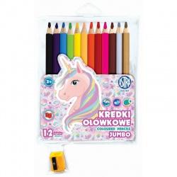 Školské  farbičky JUMBO 12ks + strúhadlo UNICORN, 312221007