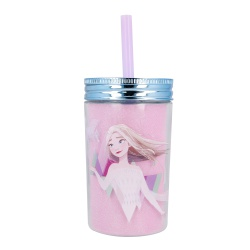 Plastový termo pohár so šrubovacím viečkom a slamkou DISNEY FROZEN, 370ml, 60455