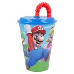 Plastový pohár s vrchnákom a slamkou SUPER MARIO 430ml, 21430
