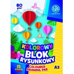 ASTRA farebné papiere  A3, 15 listov, 80g/m2, mix motívov, 106021009
