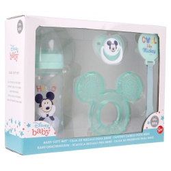 DISNEY BABY 4 dielny darčekový set  MICKEY MOUSE (fľaša, hryzátko, cumlík a držiak), 13008