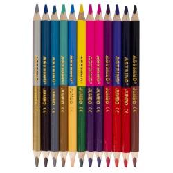 ASTRINO Obojstranné okrúhle farbičky JUMBO 12ks/24farieb + strúhadlo, 312221003