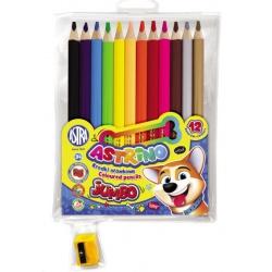 ASTRINO Školské ergonomické okrúhle farbičky JUMBO 12ks + strúhadlo, 312221001