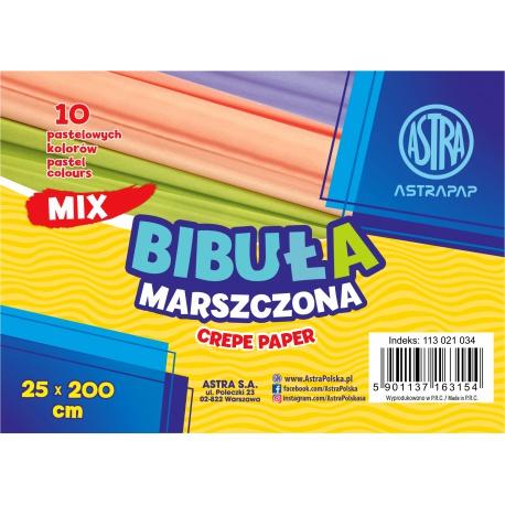 ASTRAPAP Papier krepový pastelový, 250 x 25cm, 10 ks, mix farieb, 113021034