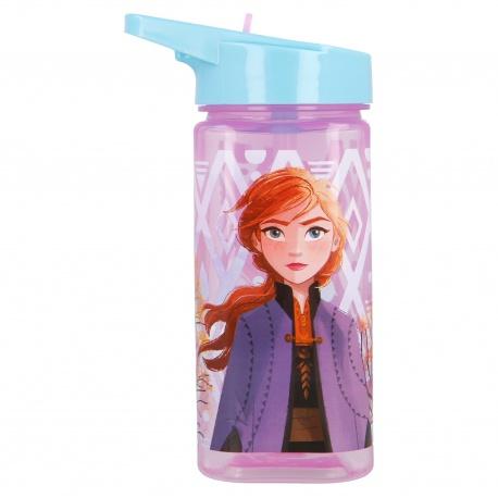 Plastová hranatá fľaša s výsuvnou slamkou DISNEY FROZEN, Tritan 530ml, 51014