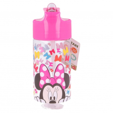 Plastová fľaša s výsuvnou slamkou MINNIE MOUSE, Tritan 430ml, 51136