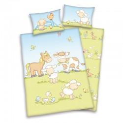 HERDING Detské bavlnené obliečky do postieľky BABY FARMA, 100/135+40/60