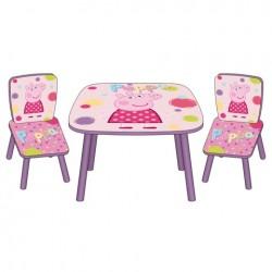 Detský drevený stolík + stoličky PEPPA PIG (3771)