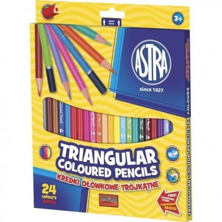 ASTRA Ergonomické trojhranné farbičky 24ks + strúhadlo, 312110003 ASTRA AST2003