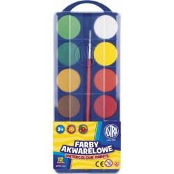 ASTRA Vodové farby so štetcom priemer 30mm, 12 farieb, 83216904